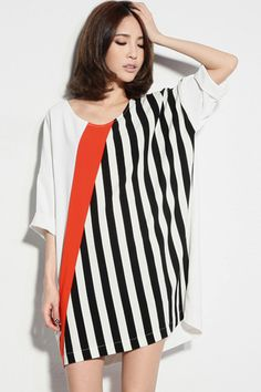 ROMWE | Geometric Pattern Striped Dress, The Latest Street Fashion #Romwe