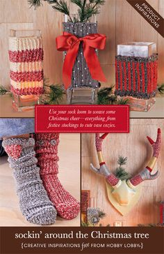Use your sock loom to weave some Christmas cheer—everything from festive stockings to cute vase cozies.