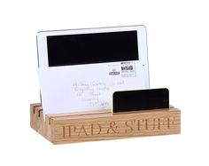 """Practical solid oak ipad stand, desk tidy or organiser tray engraved with the words """"Ipad & stuff"""". Essential for keeping gadgets tidy. A great gift for anyone who likes a place for everything, this oak iPad stand is original and contemporary. #giftidea #gadgetorganiser #ipadstand #ipadandstuff"""