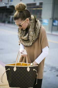 Michael Kors Beige Faux Fur Trim Poncho Sweater