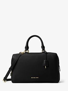 3c7bc62bf4d Kirby Large Leather Satchel by Michael Kors Black Leather Satchel, Pebbled  Leather, Coach Handbags