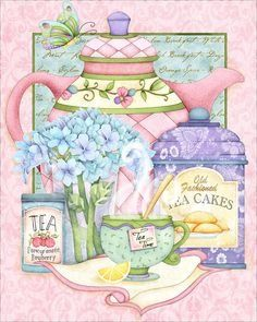 I love the beautiful soft colors of Joy Hall's artwork. I love the beautiful soft colors of Joy Hall's artwork. Tee Kunst, Etiquette Vintage, Teapots And Cups, Tea Art, Decoupage Paper, My Cup Of Tea, Kitchen Art, Kitchen Prints, Kirigami