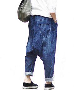 Woman pants Denim Pants Jeans Drop-crotch Pants by OurLittleDaisy