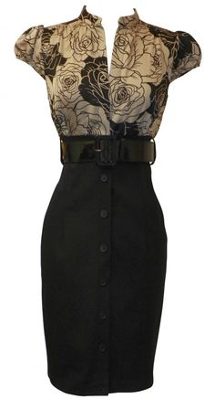 Satin Top Dress w/Belted Black Pencil Skirt Junior Plus Size