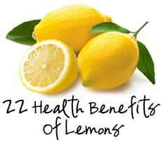 22 Health Benefits of Lemons ~ I knew about the detox benefit and lowering blood pressure ~ Now I have 20 more reasons to love Lemons!!