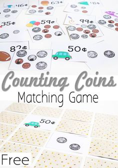 Awesome Free Printable Money Matching Game Counting Coins Life Over Cs Math WorksheetsMath of Money Math Worksheets Counting Money Games, Money Games For Kids, Counting Coins, Counting Activities, Activities For Kids, Space Activities, Educational Activities, Teaching Money Activities, Money Math Games