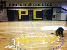 Almost done!! #phoenixcollege #gym #hardwoodfloors #bears #logo #refinishing #arizona www.excaliburhardwoodfloors.com