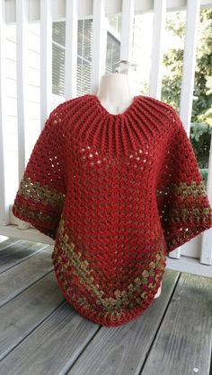 Hot Off My Hook! Project: Cowl-Neck Poncho Started: 29 Aug 2015 Completed: 30 Aug 2015 Model: Madge the Mannequin Crochet Hook(s): 7mm Yarn: I Love This Yarn Color(s): Terra Cotta, Autumn Stripe Pattern Source: Simply Crochet Magazine Issue No. 25 Pattern Designed By: Simone Francis Notes: This is my 24th Cowl-Neck Poncho! I was bitten by the insomnia bug again, but I finished it just in time to give to a special lady on her birthday!