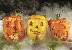 Jack-O-Peppers filled with spaghetti for a silly Halloween dinner!