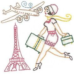 Bon Voyage embroidery pattern