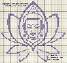 Grille gratuite point de croix : Bouddha et fleur de lotus monochrome violet