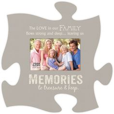 "Inscribed with ""The love in our family flows strong and deep ... leaving its memories to treasure & keep"", this grey puzzle frame shows your continual family love. Single 4""x6"" Photo - Measures 12"" x"