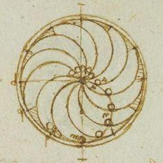 Leonardo da Vinci, 'Study in Perpetual Motion' (detail), Forster Codex ...