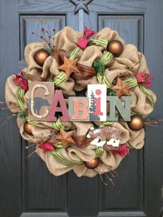 LITTLE CABIN in the WOODS Burlap wreath by GlitzyWreaths on Etsy, $100.00