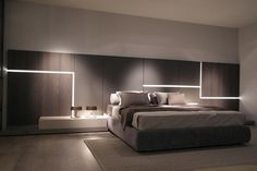 Great minimal Lighting in this contemporary bedroom