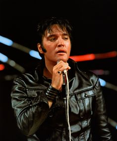 Black leather stand-up part of the NBC-TV Special, 1968. Elvis Presley.