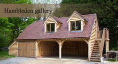 3 bay oak barn with aisle Garage Guest House, Garage Shed, Garage Plans, Garage Workshop, Garage Workbench, Garage Ideas, Garage Storage, Oak Framed Buildings, Timber Buildings