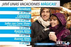 """Todas las vacaciones de julio, Setil Viajes y Turismo presentan una serie de viajes. Algunos son clásicos ya de la empresa como """"Buenos Aires con todos los parques"""" y otros más nuevos como """"Buenos Aires bien porteño"""". Esta gráfica la diseñamos para enviar por redes sociales y e-mail marketing."""