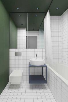 decoração para banheiro masculino simples branco e verde Bathroom Toilets, Bathroom Wall, Modern Bathroom, Washroom, Bathroom Green, Bathroom Flooring, Tile Bathrooms, Public Bathrooms, Budget Bathroom