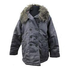 Dollhouse Jacket Junior Plus Size Coat Metallic Gunmetal Gray Faux Fur Collar #Dollhouse #BasicCoat