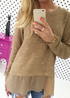 Fashion Round Neck Long Sleeve Khaki Knitwear (2 Colors)