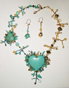 Turquoise Heart Beaded Necklace and matching drop earrings