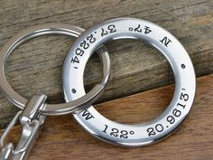 Mens Personalized Keychain  GPS Coordinates by MavenMetalsInc
