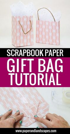 Scrapbook Paper Gift Bag Tutorial Scrapbook Paper Gift Bag Tutorial – Paper and Landscapes – Make all your gifts look unique and pretty with this easy scrapbook paper gift bag tutorial! p Scrapbook Paper Gift Bag Tutorial Scrapbook Paper Gift Bag Tutorial Diy Gift Bags Paper, Homemade Gift Bags, Small Paper Bags, Paper Bag Crafts, Small Gift Bags, Scrapbook Paper Crafts, Paper Gifts, Making Gift Bags From Wrapping Paper, Diy Paper Box