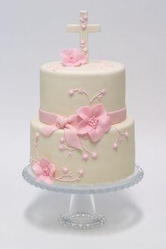 christening cake or communion cake Pretty Cakes, Beautiful Cakes, Comunion Cakes, Rodjendanske Torte, Confirmation Cakes, Baptism Cakes, Religious Cakes, First Communion Cakes, Cupcakes Decorados