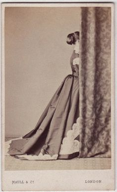 Bashful lady in a Beautiful Dress • Photographed by Maull and Co 19 th Century