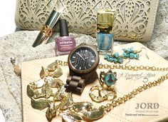 """@jordwoodwatches Fieldcrest in Dark Sandalwood with  """"a few of my favourite things""""   More details & photos of this ticker & nails on the blog review: http://www.alacqueredaffair.com/Jord-Wood-Watch-Floral-Cogs-Mani-38551780  #jordwatch #fashion #ootd #nailpolish"""