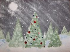 Imagine a cold, winter evening with snow flurries blowing through a field of fir trees. Imagine one of those trees beautifully decorated, though no one is there to see it. For this project we are going to paint this imaginary scene. Christmas Art Projects, Christmas Arts And Crafts, Winter Art Projects, School Art Projects, Handmade Christmas, Christmas Trees, Christmas Writing, Outdoor Christmas, Winter Christmas