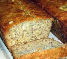 fluffy light banana bread - no mixer needed. 4 ripe bananas,1 c sugar,1/3 c melted butter, 1 egg, 1 tsp vanilla, 1 tsp baking soda, 1 1/2 c flour (1/2 c nuts optional) bake @ 350 for 1 hour.