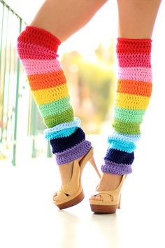 Awesome just awesome!! - Double Rainbow Leg Warmers  Over The Knee  by mademoisellemermaid, $85.00 Crochet Leg Warmers, Crochet Boot Cuffs, Crochet Slippers, Knit Crochet, Crochet Hats, Medias Crochet, Arc En Ciel, Rainbow Crochet, Leggings Fashion