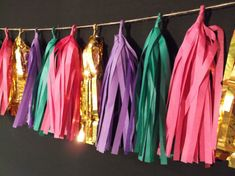 19 Tassel Mardi Gras Tissue Paper Garland Mardi by SnootyBlooms, $25.99 (put under bar countertops)