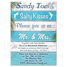 Turquoise Sandy Toes Salty Kisses Post Wedding Reception Invitation