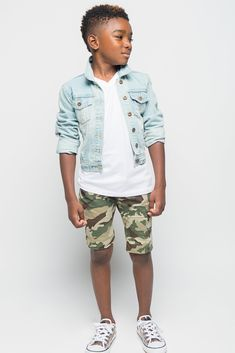 That's right, you know the drill, drop and give me swag! These camo print shorts will have all the kids on the play ground falling into fashion formation! Pair them with a cool denim jacket and a comf More