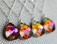 Set of 5 Orange Pink Bridesmaid Necklaces Volcano by hamptonjewels, $137.25
