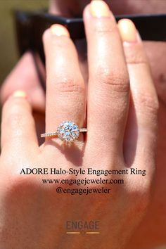 www.engagejeweler.com or visit the Engage app to customize the Adore Halo-Style Engagement Ring to your liking. #ringstyle #ringsetting #engagementring #diamondring #diamond #proposalplanning #weddingplanning #engagementinspiration #engaged #womensjewelry #womensring #mensring #bridaljewelry #weddingjewelry #goldjewelry #summervibes #marriageproposal Wedding Jewelry, Gold Jewelry, Women Jewelry, Engagement Inspiration, Marriage Proposals, Fashion Rings, Diamond Engagement Rings, Halo, Wedding Planning