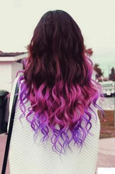 50 Trendy Ombre Hair Styles - Ombre Hair Color Ideas for Women - Hairstyles Weekly Diy Ombre Hair, Ombre Hair Color, Purple Hair, Pink Purple, Purple Tips, Violet Hair, Pastel Hair, Ombre Wigs, Pastel Blue