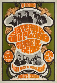 Jefferson Airplane Poster - Rock posters, concert posters, and vintage posters from the Fillmore, Fillmore East, Winterland, Grande Ballroom, Armadillo World Headquarters, The Ark, The Bank, Kaleidoscope Club, Shrine Auditorium and Avalon Ballroom.