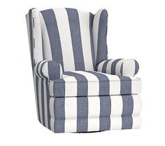 Wingback Swivel Recliner, Power, Premium Performance Awning Stripe (E), Navy