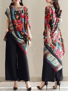 Asymmetrical Folk Style Print O-neck Vintage Blouses Cheap - NewChic casual chic style Asymmetrical Folk Style Print O-neck Vintage Blouses Folk Fashion, Vintage Fashion, Womens Fashion, Ladies Fashion, Cheap Fashion, Fashion Fashion, Fashion Online, Moda Popular, Casual Dresses