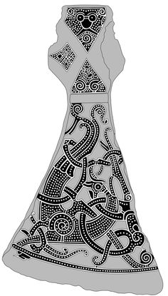 The Mammen style takes its name from a silver-engraved axe found in a chamber tomb in Mammen, Denmark, in 1868. The large, four-legged animal on the axe is the same animal that adorns the large Jelling stone. While similar in appearance to Jelling-style animals, Mammen style animals have a broader body.
