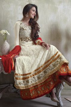 Presenting Cream Faux Georgette #Anarkali #Suit with Embroidered and Lace Work Order Now@ http://zohraa.com/cream-faux-georgette-suit-kesaria2015.html Rs. 2,599.