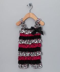 Take a look at this Pink Skull Ruffle Romper - Infant & Toddler on zulily today!