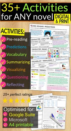 Empower students to build their reading and comprehension skills with 35+ unique and engaging activities! Each activity is optimised for Google Slides, PowerPoint or A4 printing to ensure your students are engaged and learning whether in class, distance learning or hybrid! Predicting Activities, Reading Activities, Reading Skills, Middle School Ela, High School, Nonfiction Text Features, Spelling Rules, Curriculum Mapping, Independent Reading