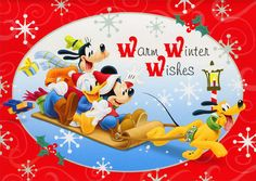 Mickey Characters Sledding (1 card/1 envelope) - Christmas Card - FRONT: Warm Winter Wishes INSIDE: Hoping that your holiday is lots of fun in every way!