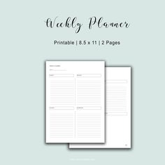 2 Page Weekly Planner Planner printables #collage #life #personal #templates #monthly #daily #teacher #business #financial #student #fitness #weekly #makeyourown #organization