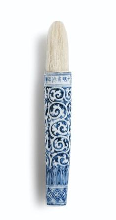 An extremely rare blue and white brush handle, Mark and period of Xuande.would love to display something like this